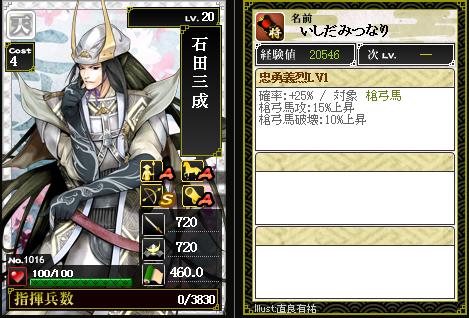 1016石田三成 攻:忠勇義烈