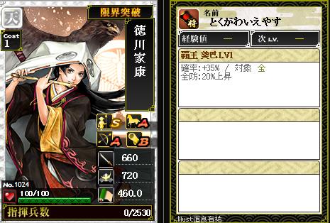 1024徳川家康 防:覇王 葵巴