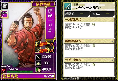 2722伊藤一刀斎 攻:一刀流