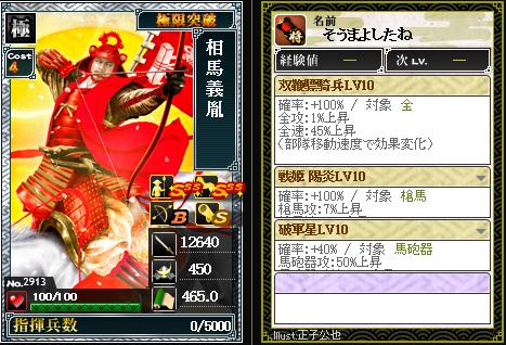 2913相馬義胤 攻:双鞭驃騎兵
