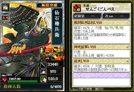 2991仙石権兵衛 攻:獣が如き猛将